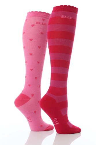 2 Pairs Girls Elle Stripes & Hearts over Knee Socks 3 sizes Pink