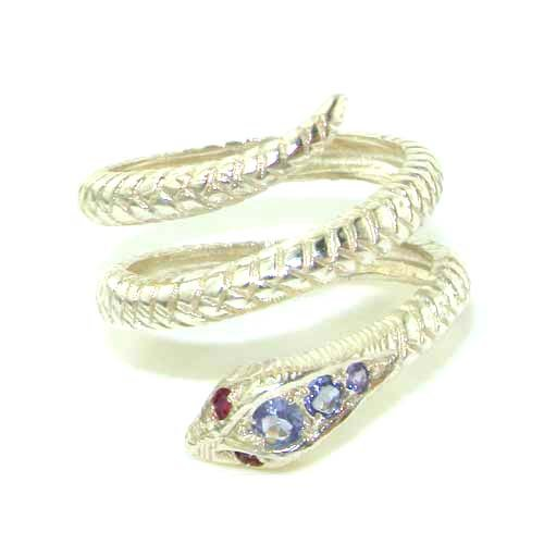 Fabulous Solid White Gold Natural Tanzanite & Ruby Detailed Snake Ring - Size 9.25 - Finger Sizes 5 to 12 Available