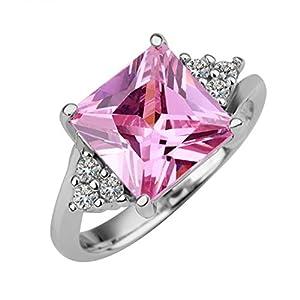B.Z La Vie BZLK004 Ring der Frauen glänzende Zirkon Quadrat Silber-Überzug Pink Diamond Größe 18