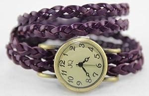 R.N. Fashion Lady Weave Leather wrap around Bracelet Watch,N3