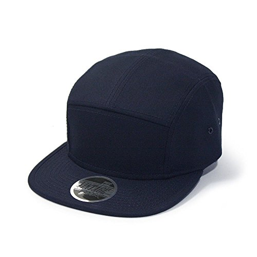 Solid Cotton Twill Square Flat Brim Adjustable Camper Cap (Navy) (Six Panel Hat compare prices)