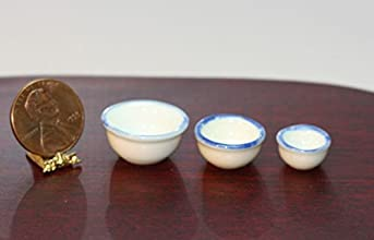 Dollhouse Miniature Economy Set of 3 Mixing Bowls in White with Blue Trim
