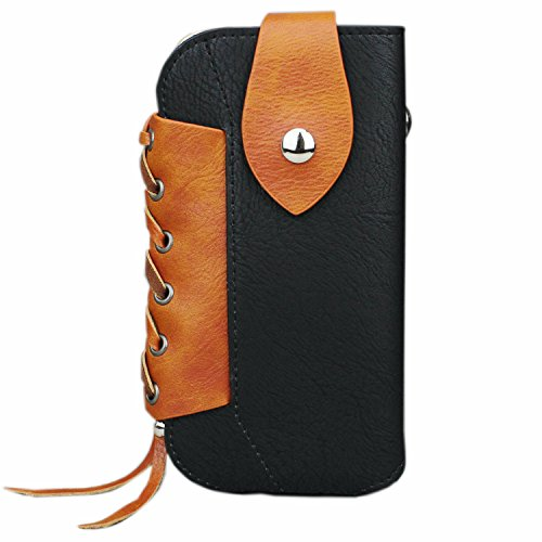 iPhone 7 PLus Holster, aubaddy Vintage Style Leather Pouch Case Belt Loop with Metal Hook for iPhone 6/6S Plus 5.5''/Samsung Galaxy Note 3/4/5 (Black) (Galaxy Note 3 Metal Belt Clip compare prices)