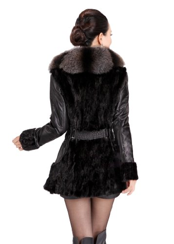 Queenshiny Long Women's 100% Real Sheep Leather and Mink Fur Coat Jacket with Super Fox Collar-Black..
