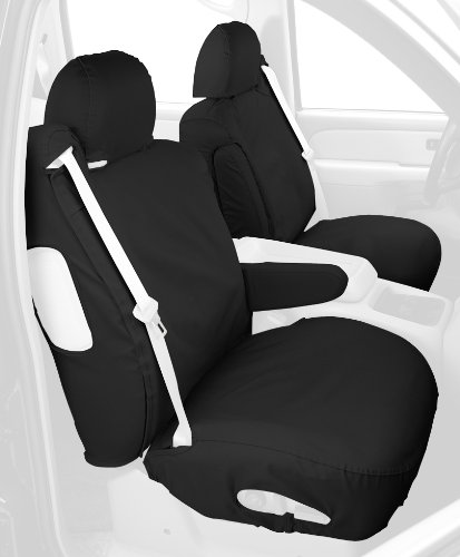 Covercraft Custom-Fit Front Bucket Seatsaver Seat Covers - Polycotton Fabric, Charcoal Black