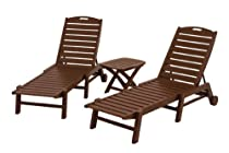 Hot Sale POLYWOOD PWS157-1-MA Nautical 3-Piece Chaise Set, Mahogany