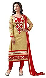 Manvaa Women's Beige Red Embroidered Chudidar Dress Material