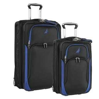 Nautica Freeboard Two Piece Luggage Set, Black/Alpine Blue, One Size