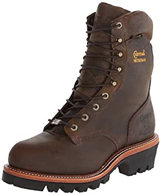 Chippewa Men's 9 Inch Bay Apache WP Steel Toe Super Logger Boot,Brown,6.5 E US