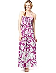 Halterneck Floral Sketch 2-in-1 Maxi Dress
