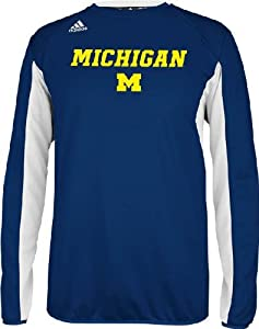 Michigan Wolverines Climawarm Team Name Blue Sideline Crew by Adidas by GametimeUSA