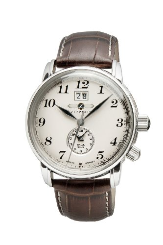 Zeppelin Dual Time Brown Leather Strap Watch With Date Function