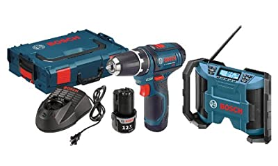 Bosch PS31-2ALPB 12-Volt 2-Tool Combo Kit Drill/Driver with Radio, 2 Batteries, Charger and L-BOXX2