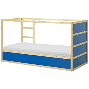 Ikea Kura Children's Reversible Bed Dark Blue / White Pine Wood by Ikea