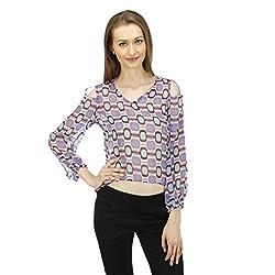 ELI Multicolour Printed Party Wear Casual Shoulder Cut Out Short women Top
