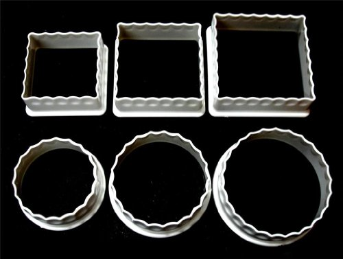 6 Plastic Fluted Cookie Cutters Square Round Assorted Biscuit