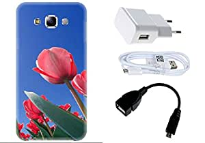 Spygen Samsung Galaxy E7 Case Combo of Premium Quality Designer Printed 3D Lightweight Slim Matte Finish Hard Case Back Cover + Charger Adapter + High Speed Data Cable + Premium Quality OTG