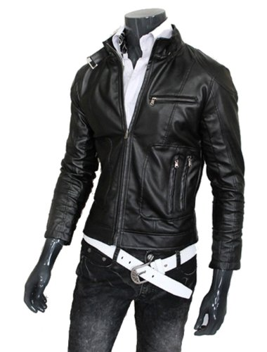 4ea7986033 Men s Casual Fashion Leather Jacket Madarin Collar Y198 (XL (US Medium)