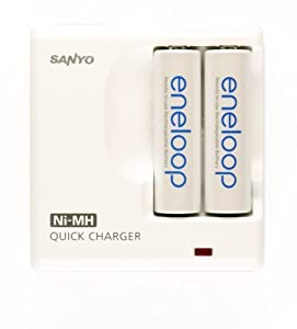 Sanyo Eneloop 2 Pack AA NiMH Pre-Charged Rechargeable Batteries w/ Charger (Discontinued by Manufacturer)