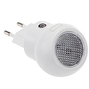 Lámpara Nocturna LED Sensor Luz Blanco 0.1W con Enchufe Bajo Consumo por ptesktmall en BebeHogar.com