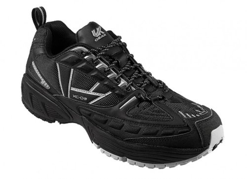 UK Gear XC-09 Mens Cross- Country Running Shoe - Black-Silver - UK size: 12, US size: 12.5 , EU size: 47.3