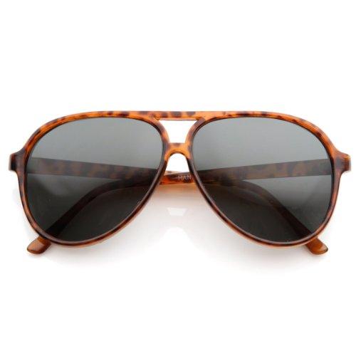 zeroUV - Polarized Protective Lens Classic Teardrop Design Plastic Aviator Sunglasses (Tortoise Smoke)