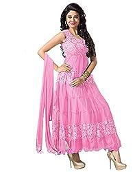 Clickedia Women's Brasso & Net Anarkali Suit Dress Material (BabyPink Anarkali_Pink)