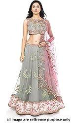 The Zeel Fashion grey Color Net and bhaglpoori Anarkali Unstitched lehegas set