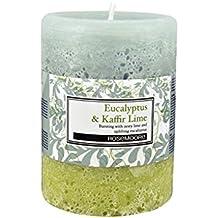 Rosemoore Green & Red Eucalyptus & Kaffir Lime Scented Pillar Candle For Living Room, Washroom, Bedroom, Office