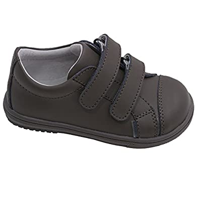 Toddler boys khaki double velcro strap leather sneakers toddler shoes