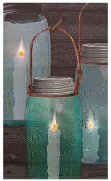 Radiance Led Lighted Canvas Print Country Artwork Canning Jar Candles Primitive Wall Decor