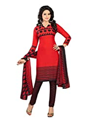 PShopee Red & Black Synthetic Self Printed Unstitched Dress Material