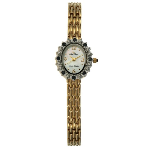 Lucien Piccard Women's 14kt Gold-Plated Genuine Blue Sapphire Accented Watch #71511SAWH