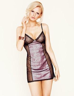 Mio Sexy Pink Polka Dot Negligee Nachtkleid String Set MS.12.7