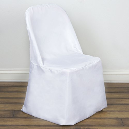 BalsaCircle 10 pcs Polyester Folding Flat CHAIR COVERS - White