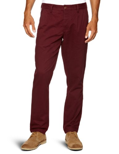 Farah Vintage The Albany Twill Relaxed Men's Trousers Bordeaux W38 INxL34 IN