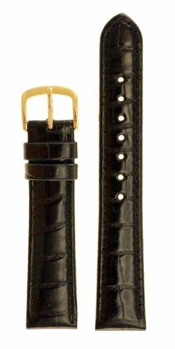 Men's Alligator Grain Watchband - Color Black Size: 20mm Watch Strap