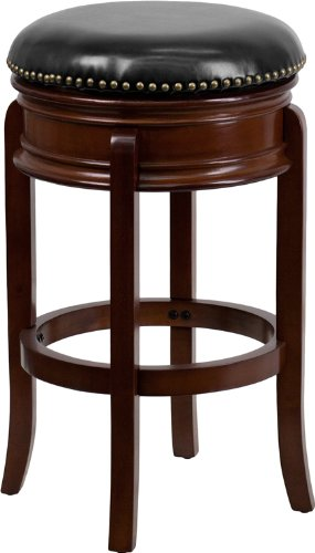 Flash Furniture TA-68829-CHY-GG Backless Cherry Wood Bar Stool with Black Leather Swivel Seat, 29-Inch