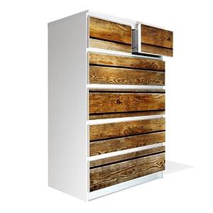 m bel aufkleber und rakel f r ikea malm kommode 80x123cm mit motiv holzbretter. Black Bedroom Furniture Sets. Home Design Ideas