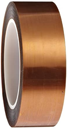 """Polyimide Double Sided Masking Tape, 3"""" Core, 500 Degree F Performance Temperature, 30 lbs/inch Tensile Strength, 1 mil Thick, 36 yds Length x 1-1/2"""" Width, Amber"""