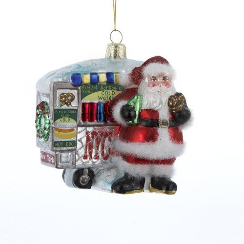 Kurt Adler Santa Next to Hot Dog Stand Glass Ornament, 4-Inch