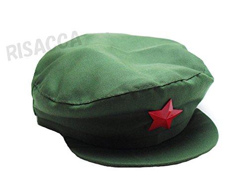 RISACCA 中国帽 中国人民解放軍タイプ 人民帽 コスプレ 帽子 星徽章 カーキ メンズ レディース (2:Mサイズ)