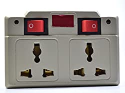 ESN 999 Multiplug 4 Sockets & 2 switches with indicator-Off White