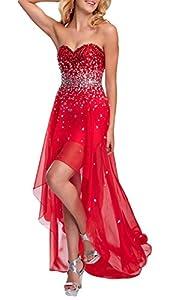 Chiffon  Floor Length High-Low-Hem Sweetheart Evening Dress/Prom Dress  With Rhinestones
