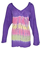 Indiatrendzs Women's Embroidered Rayon Tie-Dye Purple Tunic Top Chest: 50