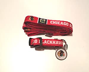Chicago Blackhawks Dog 3pc Pet Set Leash Collar ID Tag LARGE by Hunter
