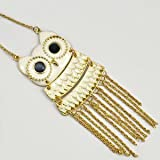 Fashuun Village Beautiful Big Eyes Movable White Owl Gold Tassels Long Pendant Necklace Chain