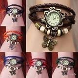 Montre en cuir Weave Wrap Around montre-bracelet de rétro bracelet de Madame Woman par Boolavard ® TM