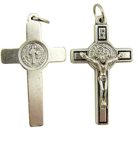 Saint St Benedict Cross 1 1/2 Inch Oxidized Silver Crucifix