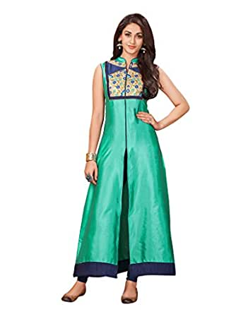 The Ethnic Chic Women 39 S Clothing Green Colored Taffeta Kurti Clothing Accessories